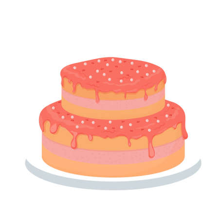 Detailed and bring pink romantic cake, for greeting glazed isolated on white background. Festive element, clipart.