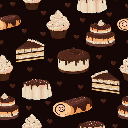 Seamless pattern with detailed drawn desserts cake, cupcake, pudding glazed with chocolate on dark brown black. Creative design, colorful and stylish.