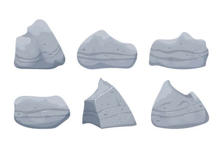 Stone boulders set isolated on white background, detailed drawing in cartoon style with cracked elements for design and ui games. Collection massive constructions. . Vector illustration
