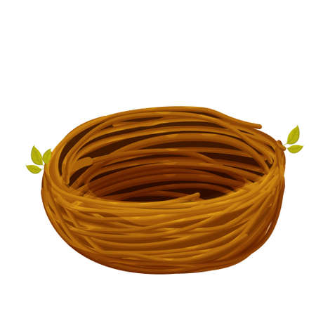 Cute bird nest from twigs in cartoon style isolated on white background. Empty natural basket, construction, single object, clipart. . Vector illustration