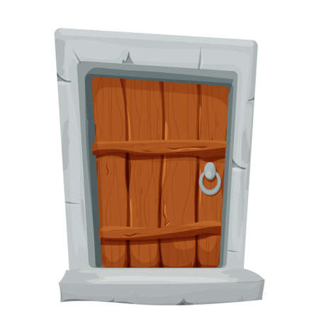 Funny wooden door with stone in cartoon style isolated on white background. Small entrance for ui games, assets. Fantasy construction, interior. Vector illustration Векторная Иллюстрация