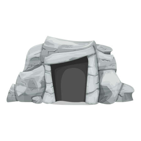 Stone age cave from rocks in cartoon style isolated on white background. Prehistoric, ancient object of evolution, caveman home, outdoor. Detailed drawing with cracked elements, ui game assets. Vector illustration