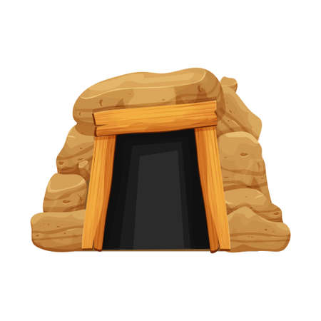 Old cave, mine entrance in cartoon style from stones, rocks and wood planks isolated on white background. Dark tunnel, underground place. Vector illustration Ilustração
