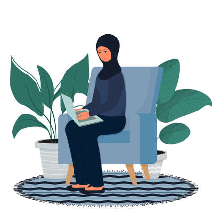 Muslim, Arabian woman sitting and working with laptop in hijab, traditional clothes. Online education, freelance concept, comfortable workplace isolated on white background. . Vector illustration