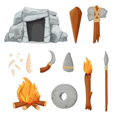 Stone age set with barbarian cave, necklace from bones, tools and weapon from rock and wooden sticks in cartoon style isolated on white background stock vector illustration. Vector illustration Illustration