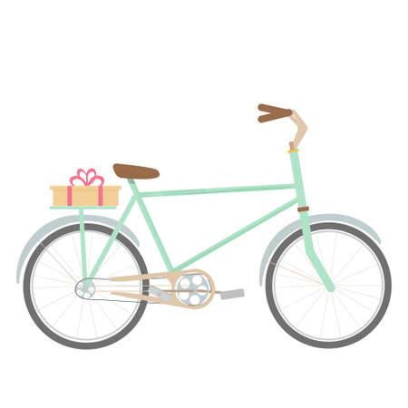 Bike, bicycle with present isolated on white background stock vector illustration. Season vehicle, transport in flat style, decorative element, cute, bright. . Vector illustration
