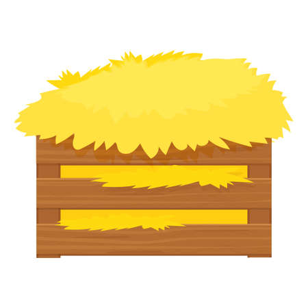 Bale of hay, haystack in wooden box in cartoon style isolated on white background stock vector illustration. Harvest, rural agriculture, farming. Vetores