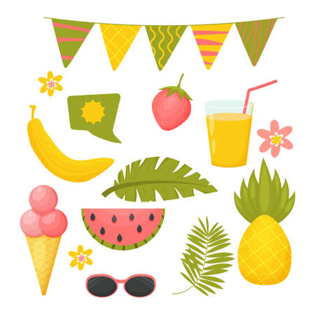 Hello summer set, collection of objects isolated on white background in cartoon, scandinavian style. Banana, pineapple, strawberry and watermelon fruits. Speech bubble, palm leaves and sunglasses.