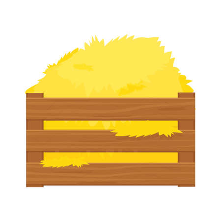 Bale of hay, haystack in wooden box in cartoon style isolated on white background stock vector illustration. Harvest, rural agriculture, farming.
