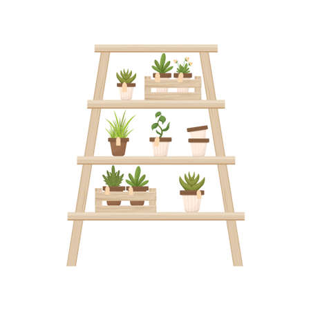 Wooden shelf, ladder with potted flowers in cartoon style isolated on white background. Florist shop, orangery decoration in trendy natural colours. Textured and detailed decoration.