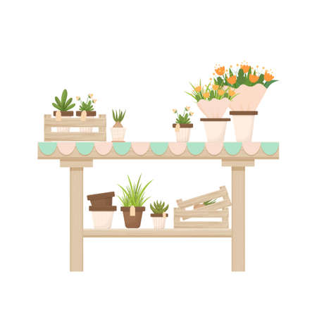 Wooden table with potted plants, flowers, florist shop, orangery decoration in cartoon style isolated on white background. Gardening, seeding element, advertising composition. Furniture for interior. Illustration