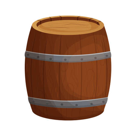 Wooden barrel detailed, textured in cartoon style isolated on white background. Ui game assets. Wood container, keg. Decoration, rural, rustic object.