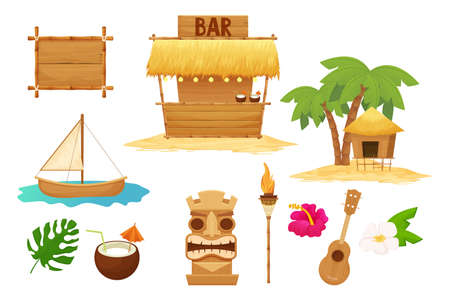 Hawaiian set holiday traditional elements in cartoon style isolated in white background. Beach bar with straw, umbrella, wooden frames and decorations, ukulele, bamboo torch, tiki mask and hibiscus.
