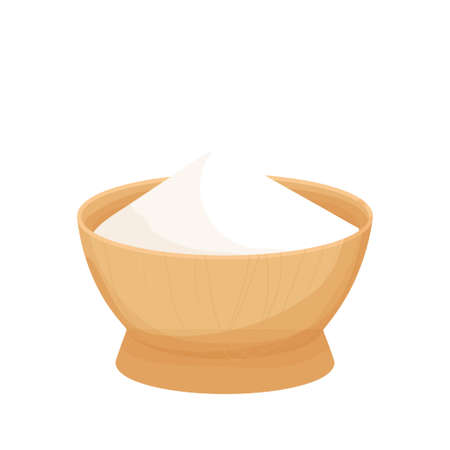 Wooden bowl with white ingredient, Starch bowl in cartoon style isolated on white background. Baking and cooking ingredient, design element