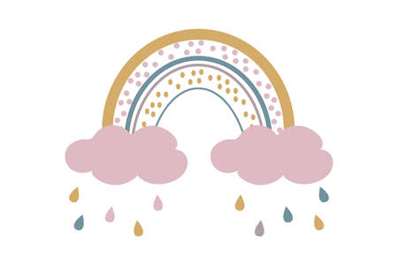 Cute baby boho rainbow with clouds and rain in scandinavian style, lovely decoration isolated on white background. Pastel colors, baby shower, nursery.