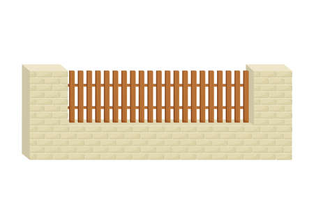 Fence from stone bricks and wooden planks in cartoon flat style isolated on white background. Building, construction for protection. Design element. Illustration