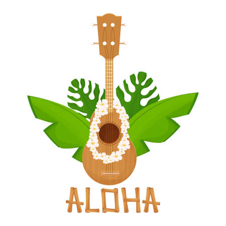 Folk acoustic ukulele in cartoon style from wood with tropical flowers isolated on white background. Hawaiian traditional musical instrument, detailed and textured object. stock vector illustration.
