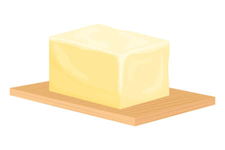Brick of butter on wooden cutting board in cartoon style isolated on background. Slices of margarine or spread, fatty natural dairy product. Calorie food for cooking and eating, lanch