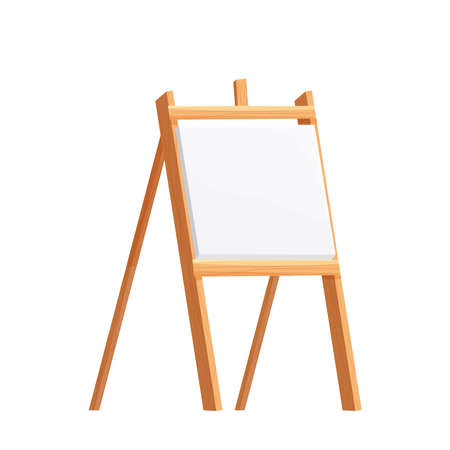 Wooden easel empty blank paper mock up in cartoon style isolated on vector white illustration. Artist equipment, advertising board. Vector Illustration