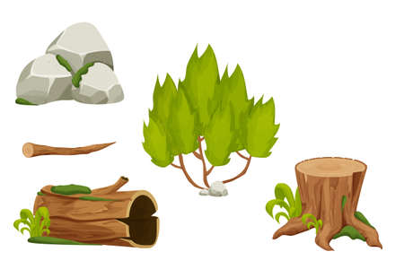 Forest nature elements landscape set with tree stump, sold trunk, bush, stone pile and moss in cartoon style isolated on white background. Ui assets, for computers game interface vector Illustrations