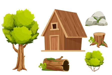Set Forest hut, wooden house or cottage, tree, old log with moss, stone pile and bush in cartoon style isolated on white background. Cabin, country building with roof, window and door. Vecteurs