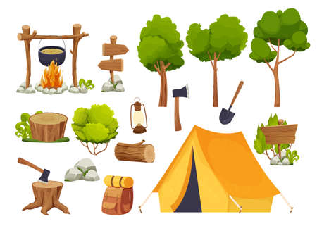Set camping equipment campfire, tent, lantern, shovel and axe, travel backpack wood log and stump, forest trees in cartoon style isolated on white background. Forest activity, vacation