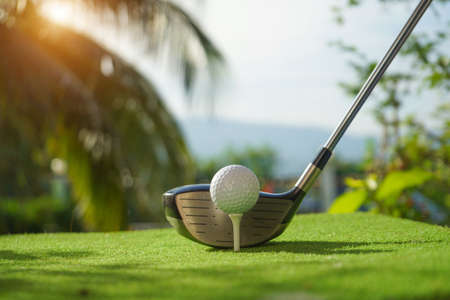 Golf balls on the golf course with golf clubs ready for golf in the first short. In the morning, with the beautiful sunlight.Sports that people around the world play in the holidays. Stok Fotoğraf