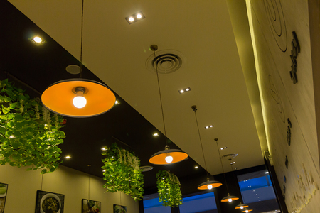 lighting fixtures: hanging lights with shallow depth of field