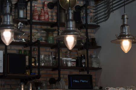 tungsten: Tungsten light in coffee shop Stock Photo