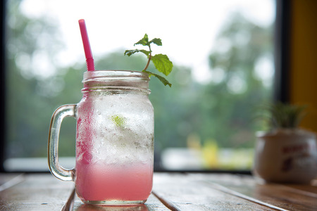 Iced LycheeLychee fizzy drink with mint and soda