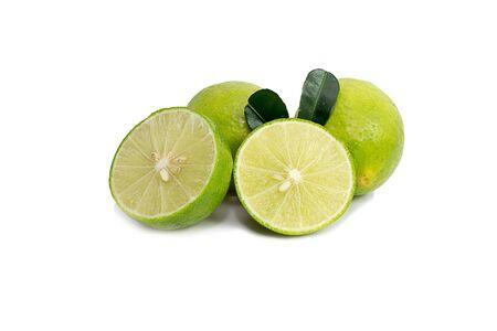 lemon wedge: Green lime isolated on white background