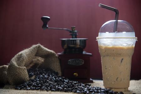 iced coffee: Iced coffee with coffee beans Stock Photo