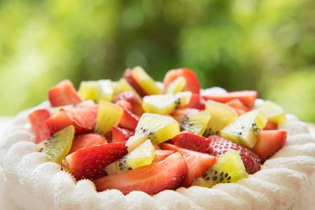 Close up Strawberry and kiwi shortcake Stock Photo