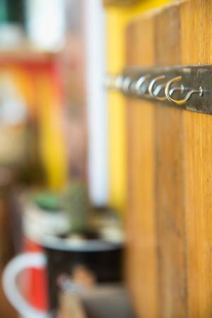 hook up: close up rust metallic hook screws Stock Photo