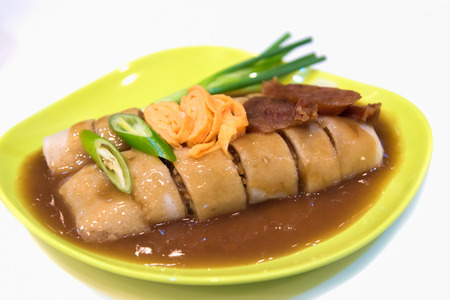 egg roll or spring roll vietnamese style, with spicy pepper dip sauce Stock Photo