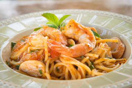 Pasta with prawns, delicious spaghetti with prawns  shrimps