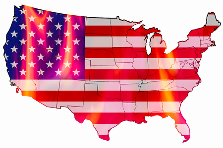 United States flag as map overlays fire inside on white background