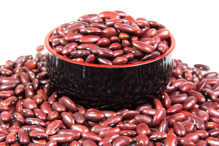 Red bean in Black Japanese bowl isolated on white background