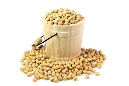 Soy beans in casks isolated on white background Stock Photo