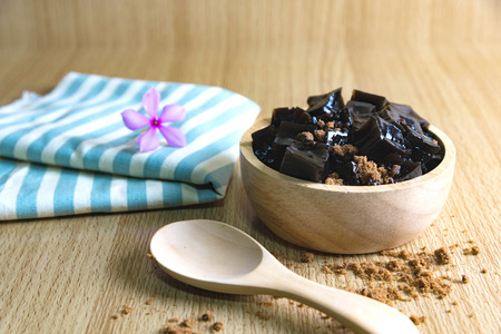 Grass jelly (Mesona chinensis)Its Southeast Asia Dessert made from made by boiling the aged and slightly oxidized stalks with sugar.