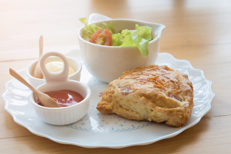 Scones with cheddar and bacon with Vegetable Salad; Cheddar scones