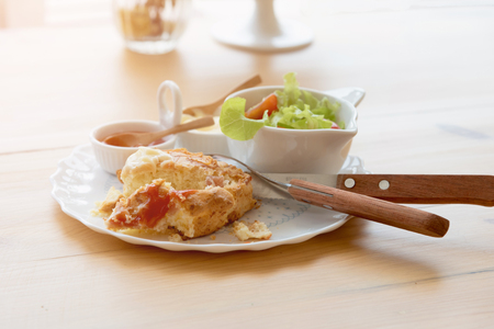 shallow: Scones with cheddar and bacon with Vegetable Salad; Cheddar scones
