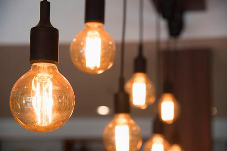 furniture design: vintage lamp, bulb decorative in cafe