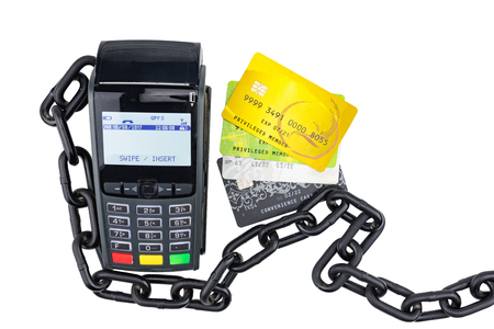 payment terminal with card on white background top view. Payment terminal isolated on white Stock Photo