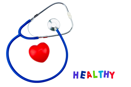 Blue stethoscope isolated and red heart on white background. Medical stethoscope and red heart isolated on white Stock Photo