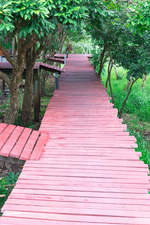 timber path walkway floor walking bridge, red wooden bridge