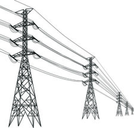 high voltage pole, Multiple high voltage towers.