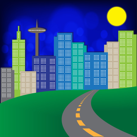 Night city, Landscape City Village with full moon and urban