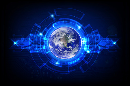 Globe with abstract digital circle. Global business technologies concept.