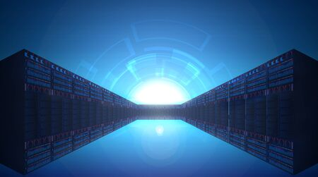 Network Server Room. Technology Concept  Background. Hallway of tower servers in data centre